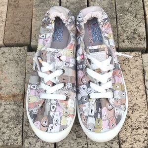 Sketchers Bobs Dog Print Slip On Shoes Size 9.5